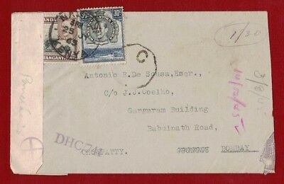 1945 Kenya Uganda Tanganyika censored cover to India KG VI