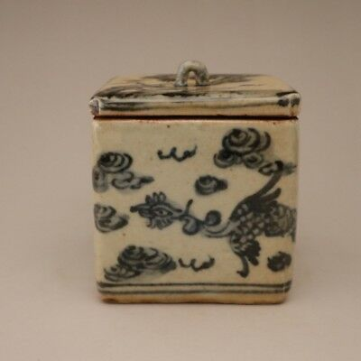 Chinese Porcelain Made Blue And White Double Phoenix Patterns Tea Caddy
