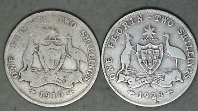 Australia 1910 and 1928 Florin Lot of 2 Sterling Silver Coins