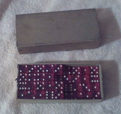 Vintage Box Of 54 Red Magenta Dice 5/8 Inch Ideal Dice Shop Pawtucket Ri