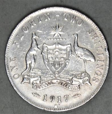 Australia 1917-M Florin Sterling Silver Coin