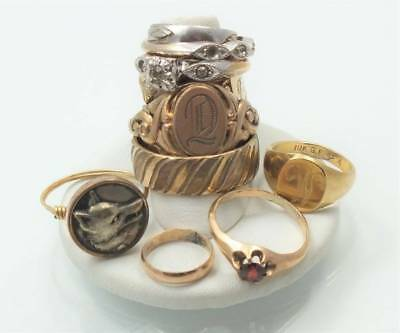 Vtg Deco Victorian Gold Filled Ring Lot*signet Wolf Garnet Wide Band Baby Heart