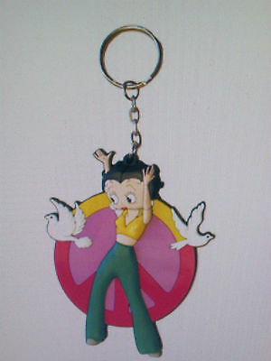Betty Boop Hippie Peace Sign Rubber Key Chain New In Original Package
