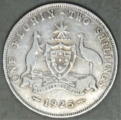 Australia 1925 Florin Sterling Silver Coin