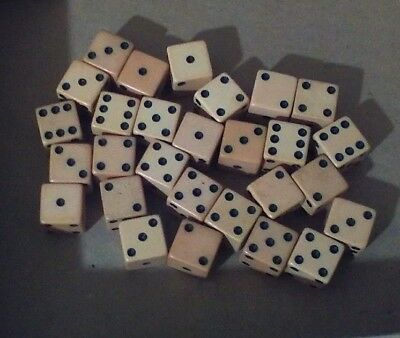 Vintage 28 White Dice Off White To Yellowed From Age