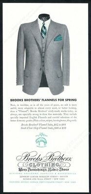 1943 Brooks Brothers gray flannel suit men's Spring fashion vintage print ad