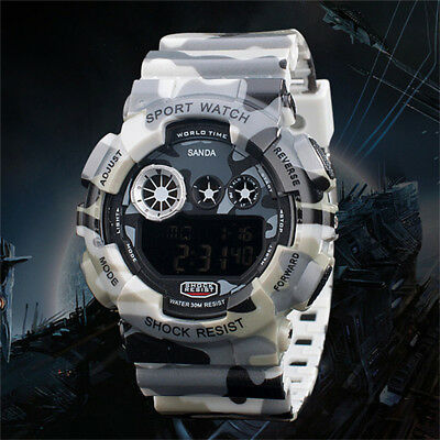 SANDA Digital Date Mens' Army Camo Sport Silicone Quartz Watch Wristwatchs