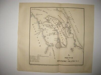 Antique 1866 Roanoke Island Nags Head Outer Banks North Carolina Civil War Map