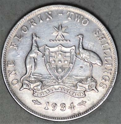 Australia 1934 Florin Sterling Silver Coin