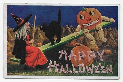 1909 HALLOWEEN WITCH BLACK CAT & PUMPKIN MAN On See Saw Post Card #1054