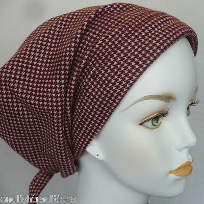 Cancer Hat Burgundy Check Flannel Alopecia Hairloss Scarf Turban Head Wrap Cover