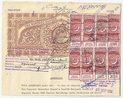 2002 Pakistan 6 Special Adhesive 8 Rs10000 Revenue Stamps On Rs1000  Court Paper