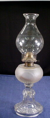 Antique  1880 Findlay Lamp Oil Kerosene Plume pattern Frosted with Clear