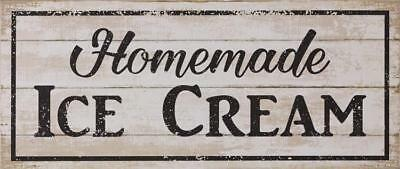 New Shabby Farmhouse Chic Vintage HOMEMADE ICE CREAM Rustic Wood Plaque Sign 23""