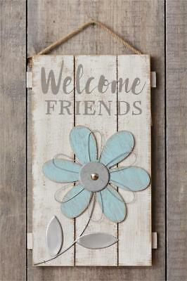 New Shabby Rustic Blue WELCOME FRIENDS DAISY Wood Wall Hanging Picture Sign