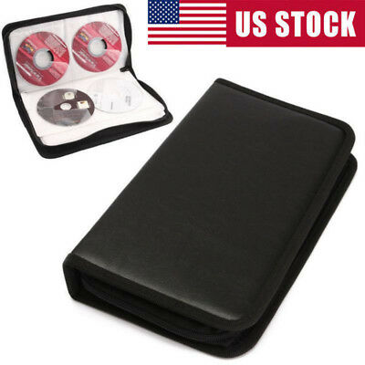 80 Sleeve CD DVD Blue Ray Disc Carry Case Holder Bags Wallet Storage Ring Binder