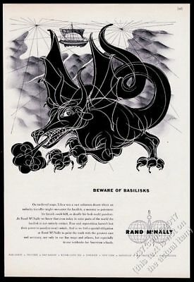 1955 basilisk monster dragon art Rand McNally travel vintage print ad