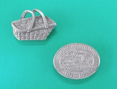 "Two Longaberger Pewter Magnets ""Basket & 25th Anniversary"" Excellent Condition"