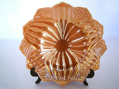 Vintage Fire King Anchor Hocking Peach Luster Lotus Blossom Dish 8 Inches