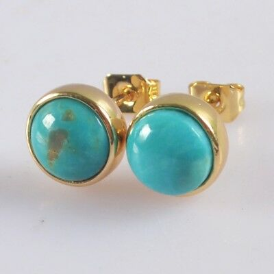 9mm Round Natural Genuine Turquoise Bezel Stud Earrings Gold Plated H129311