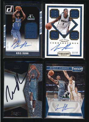 Lot Of (4) Kris Dunn 2016/17 Panini Rookie Autograph Auto Jersey Cards Wu2277