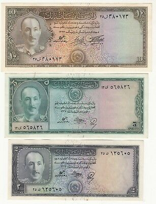 1327,1333 Afghanistan Lot Of 3 Paper Money 2,5,10 Afg King Zahir Shah Aunc Rare.