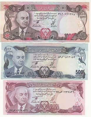 1352 Afghanistan Lot Of 6 Paper Money 10,20,50,100,500,1000 Afg King Daud Unc