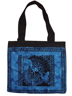 Lined Cotton Celtic Tote Bag Tender Waves 15 x 17
