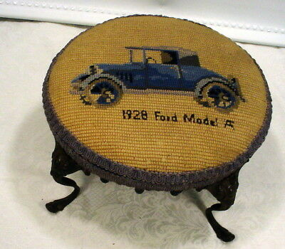 Antique Victorian Ornate Cast Iron Feet Needlepoint Foot Stool Ottoman Ford A