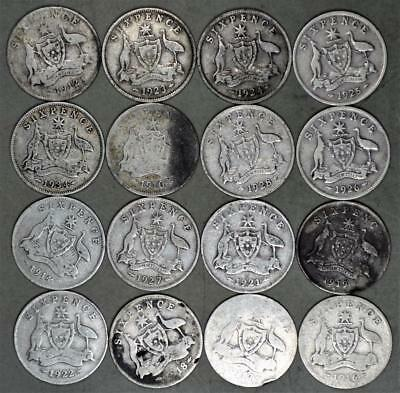 Australia 6 Pence Lot of 16 Silver Coins King George V and King Edward VII