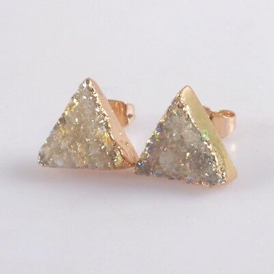 12mm Triangle Natural Agate Druzy Titanium AB Stud Earrings Gold Plated H129323