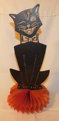 Vintage Die Cut Halloween Black Cat Honeycomb 12 inch Decoration Made in USA