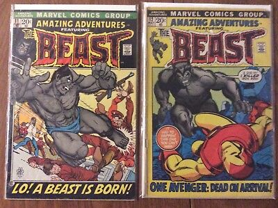 Amazing Adventures 11 & 12 (1972) Set/Lot 1st Appearance of Fuzzy Beast! X-men!