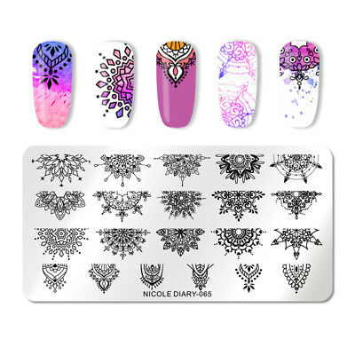 NICOLE DIARY Stamping Plates Mandala Floral Rectangle Nail Art Manicure 065