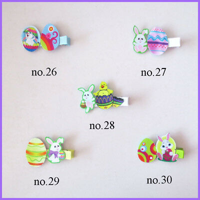 """100 BLESSING Fashion 2.5"""" Hair Clip Bow Easter Spring Rabbit Chicken Egg Baby"""