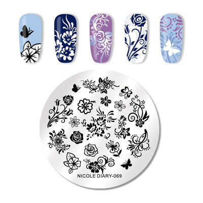 NICOLE DIARY Nail Stamping Plates Flowers Butterfly Pattern Nail Template 069