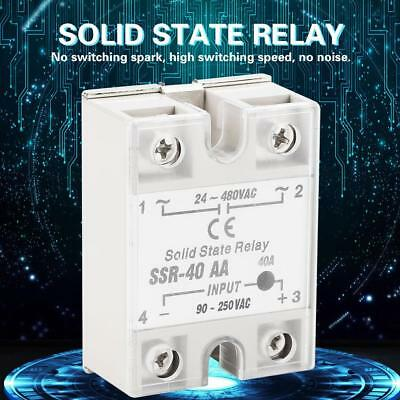 SSR-40AA 40A Solid State Relay Module AC-AC Input 90-250V AC Output 24-480V AC
