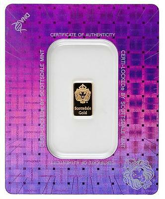 *INVEST FOR TODAY! 1 gram Scottsdale Mint Gold Bar w/Lion Hd in/Certi-Lock-Assay