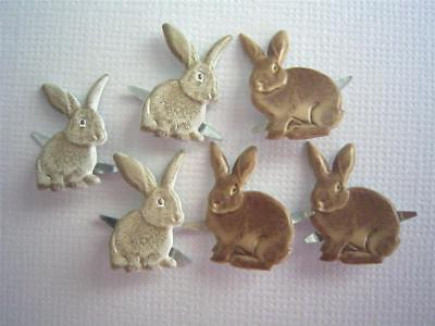 BRADS BROWN RABBIT / BUNNY pk of 6 split pin craft EASTER bunnies cards
