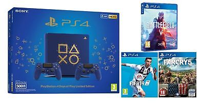 Ps4 Console 500Gb Slim Sony Days Of Play + 2Nd Dualshock 4 + 3 Giochi Ps4 !!!