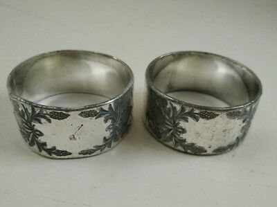 Vintage Art Deco silver plated napkin rings