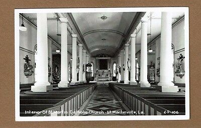 RPPC St. Martinville,LA Louisiana, St Martin Catholic Church Interior #4-F-106
