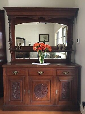 Antique Edwardian Walnut Mirrored Sideboard!