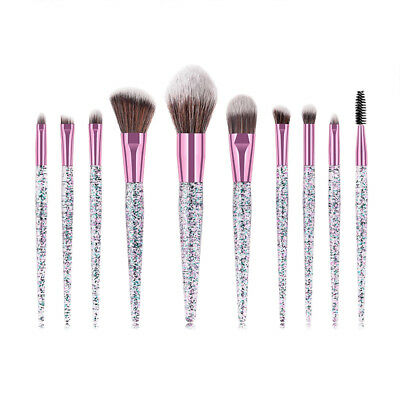 10 PCS Unicorn Diamond Make up Brushes Set Foundation Eyeshadow Lip Tools Powder