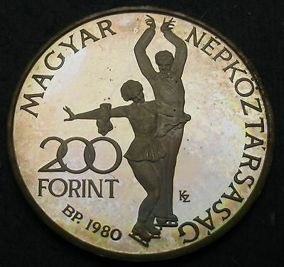 HUNGARY 200 Forint 1980 Proof - Silver - Winter Olympics Lake Placid - 1755