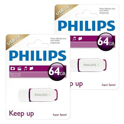 2x 64GB Philips Snow Series USB 3.0 Flash Drive USB 3.0 Memory Stick VALUE PACK