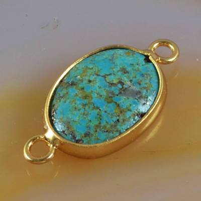 Oval Natural Genuine Turquoise Bezel Connector Gold Plated H122135