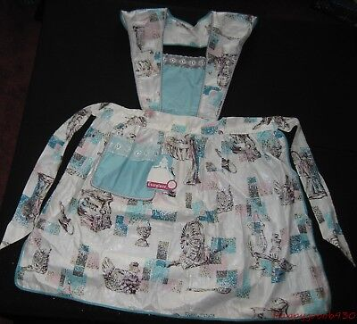 Vintage Everglaze Full Apron White with Aqua Pink & Brown Print Never Used W/Tag
