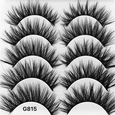5Pair 3D Mink False Eyelashes Wispy Cross Long Thick Soft Fake Eye Lashes UK RR