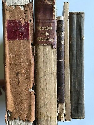 Lot of 5 Shabby Farmhouse Antique Vintage Old Distressed Books Decorative Stack
